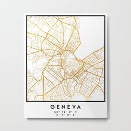GENEVA SWITZERLAND CITY STREET MAP ART Metal Print