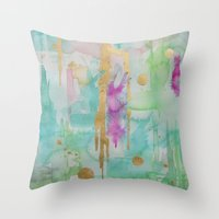 macaroon Throw Pillows featuring Mint Macaroon by Limezinnias Design