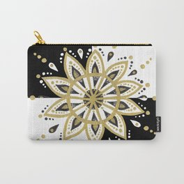 Black & Gold Mandala Geometric Design Carry-All Pouch