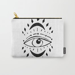Linocut eye design tribal mystic spiritual healing black and white Carry-All Pouch