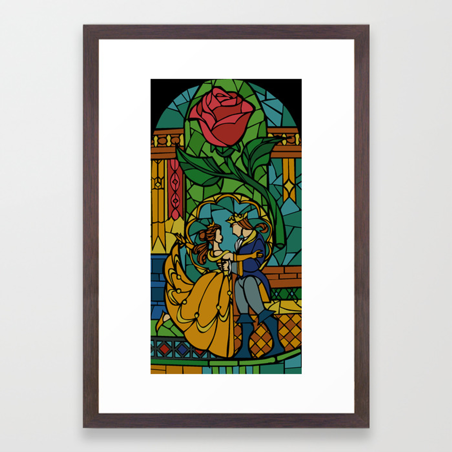 Beauty And The Beast Stained Glass Framed Art Print By Hogies Society6