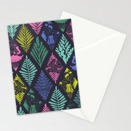 Hawaiian Hula Dancers Ikat Line Art Blue Pink Yellow Green Black Pattern Stationery Cards