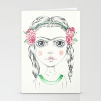 frida kahlo Stationery Cards featuring frida kahlo by Lisa Bulpin