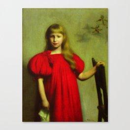 Portrait of a girl in a red dress - Józef Pankiewicz Canvas Print
