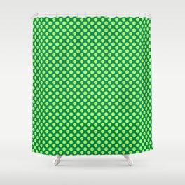 Apple Green Polka Dots Shower Curtain