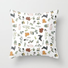 Bunnies and spring flowers Throw Pillow