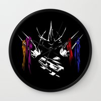 teenage mutant ninja turtles Wall Clocks featuring Shredder - Teenage Mutant Ninja Turtles by offbeatzombie