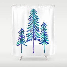 Pine Trees – Navy & Turquoise Palette Shower Curtain