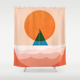 Abstraction_SUN_Sailing_Ocean_Minimalism_001 Shower Curtain