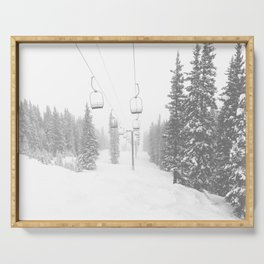 Empty Chairlift // Alone on the Mountain at Copper Whiteout Conditions Foggy Snowfall Serving Tray