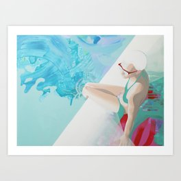 Depths, women portret with abstraction elements Art Print