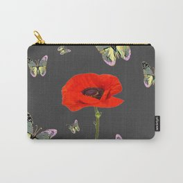 RED POPPY FLOWER & GREY BUTTERFLIES Carry-All Pouch