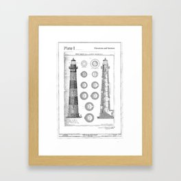 Vintage Bodie Island Lighthouse Diagram Framed Art Print