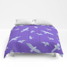 purple seagull day flight Comforters
