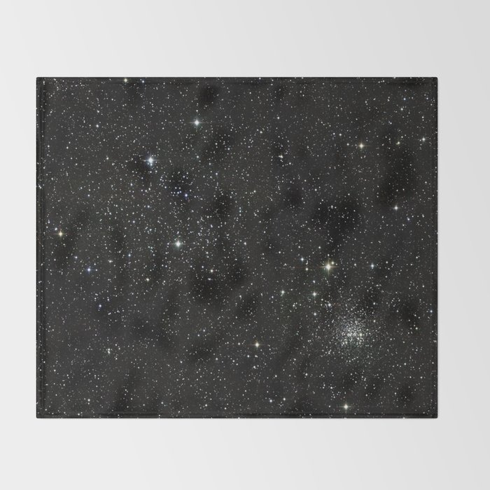 Universe Space Stars Planets Galaxy Black And White Throw Blanket