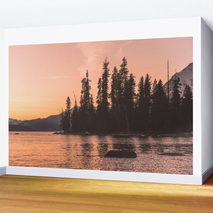 Forest Island at the Lake - Nature Photography Wall Mural