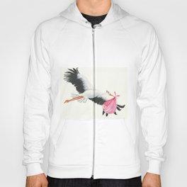 Pink Stork in flight. Hoody