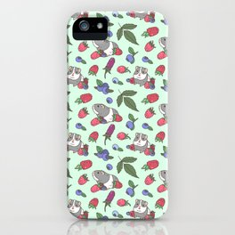 Guinea Pig Pattern in Mint Green Background with mix berries iPhone Case