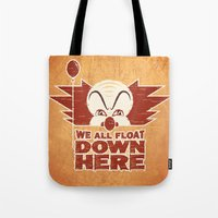 pennywise Tote Bags featuring We All Float  by Fanboy30
