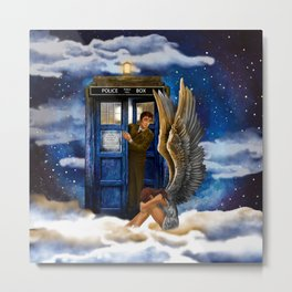10th Doctor Who with Crying AngeL iPhone 4 4s 5 5s 5c, ipod, ipad, pillow case and tshirt Metal Print