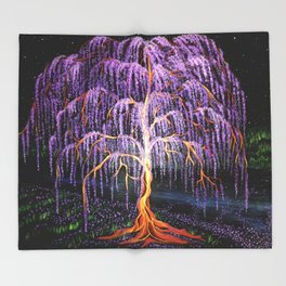 Electric Wisteria Willow Tree Throw Blanket