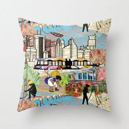 Urban Sightings Collage Throw Pillow