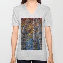 Aspen Trees by OLena Art Unisex V-Neck