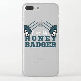 """Fear The Honey Badger""  tee with claw graphic design for honey  lovers yellow bee like you!  Clear iPhone Case"