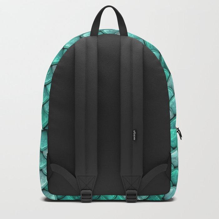 Aqua & Mint Mermaid Glitter Scales - Luxury Mermaid Scales Backpack