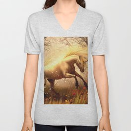 Magnificent Fantasy Wild Unicorn Forest Clearing Dreamland Ultra HD Unisex V-Neck