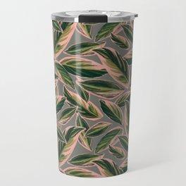 Calathea Leaves Pattern- Pink Green Gray Travel Mug