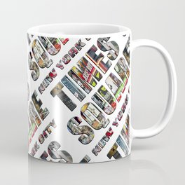 Times Square New York City (diagonal type on white) Coffee Mug