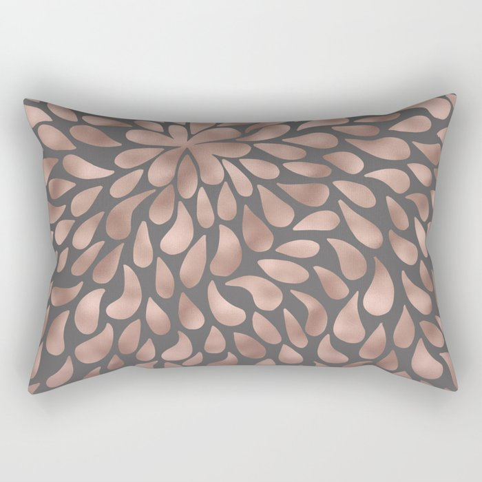 Rosegold- abstract floral elegant pattern on grey background Rectangular Pillow