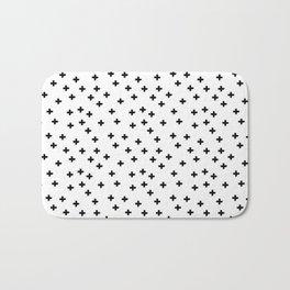 Black hand drawn pluses pattern on white Bath Mat