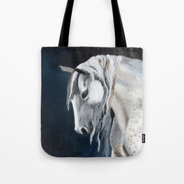 White Mustang Horse on Blue Sky Tote Bag