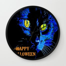 Black Cat Portrait with Happy Halloween Greeting  Wall Clock