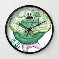 hulk Wall Clocks featuring Hulk by Crooked Octopus