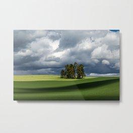 Tree Group in Green Field Metal Print