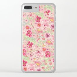 Pastel pink red watercolor hand painted floral Clear iPhone Case