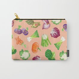 Peach pink veggies illustration pattern   Vegetables pattern Carry-All Pouch