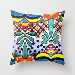 Colorful Talavera, Yellow Accent, Large, Mexican Tile Design Throw Pillow
