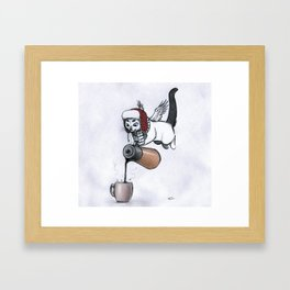 The chilly coffee cat.  Framed Art Print