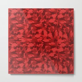 Red Background Camouflage Pattern Metal Print