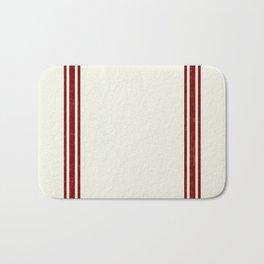 Red on Creme Grainsack wide stripes Bath Mat