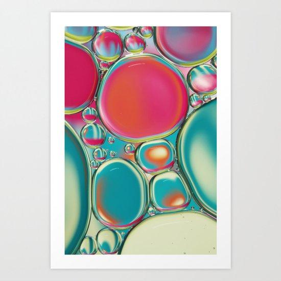 Retro Coloured Oil & Water Drops Art Print
