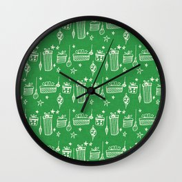 Christmas gift and ornaments Green and White Wall Clock
