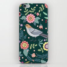 Pattern with beautiful bird in flowers iPhone & iPod Skin