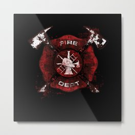 Firefighter Fireman Helmet Metal Print