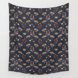 Navy Blue Seed Pods Wall Tapestry