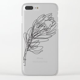 Abstract Protea Flower Continuous Line Drawing Clear iPhone Case